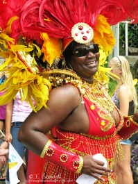 Smiling parade participant